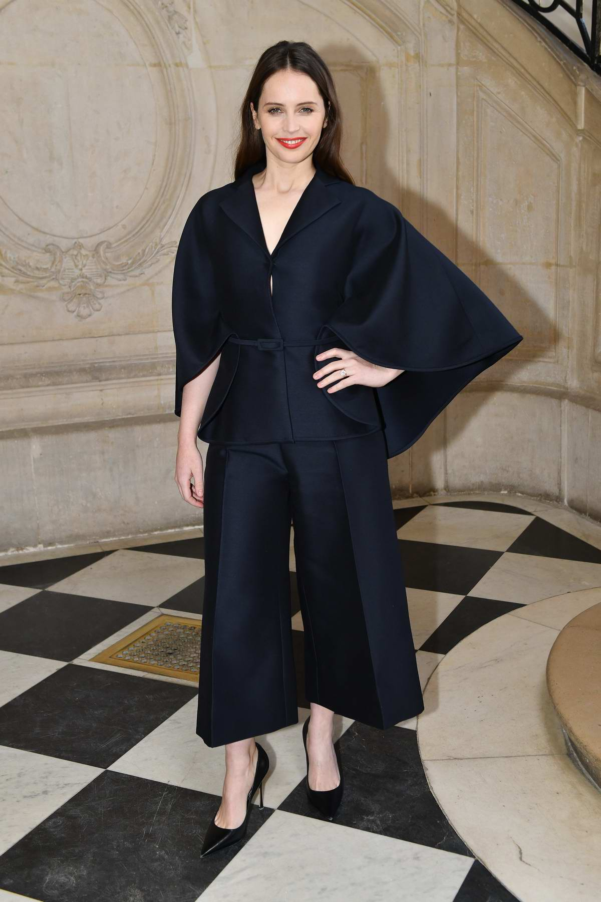 Felicity Jones attends the Christian Dior Haute Couture Spring/Summer 2019 Show during Paris Fashion Week in Paris, France