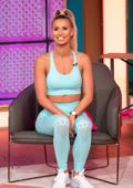 Ferne McCann shows off some yoga poses on 'This Morning' TV show in London, UK