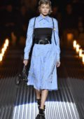 Gigi Hadid walks the runway at the Prada show, Autumn/Winter 2019/20 during Milan Fashion Week Men's in Milan, Italy