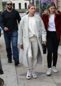 Hailey Baldwin Bieber picked up some coffees from Alfred's while out with a friend in Studio City, Los Angeles