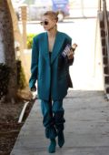 Hailey Baldwin Bieber steps out for a meeting wearing a turquoise suit in Los Angeles