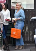 Hilary Duff wore a blue sweater and jeans as she grabs lunch with her friends in Studio City, Los Angeles