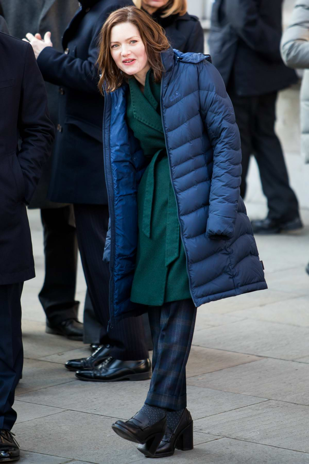 Holliday Grainger spotted while filming upcoming BBC drama 'The Capture' in London, UK