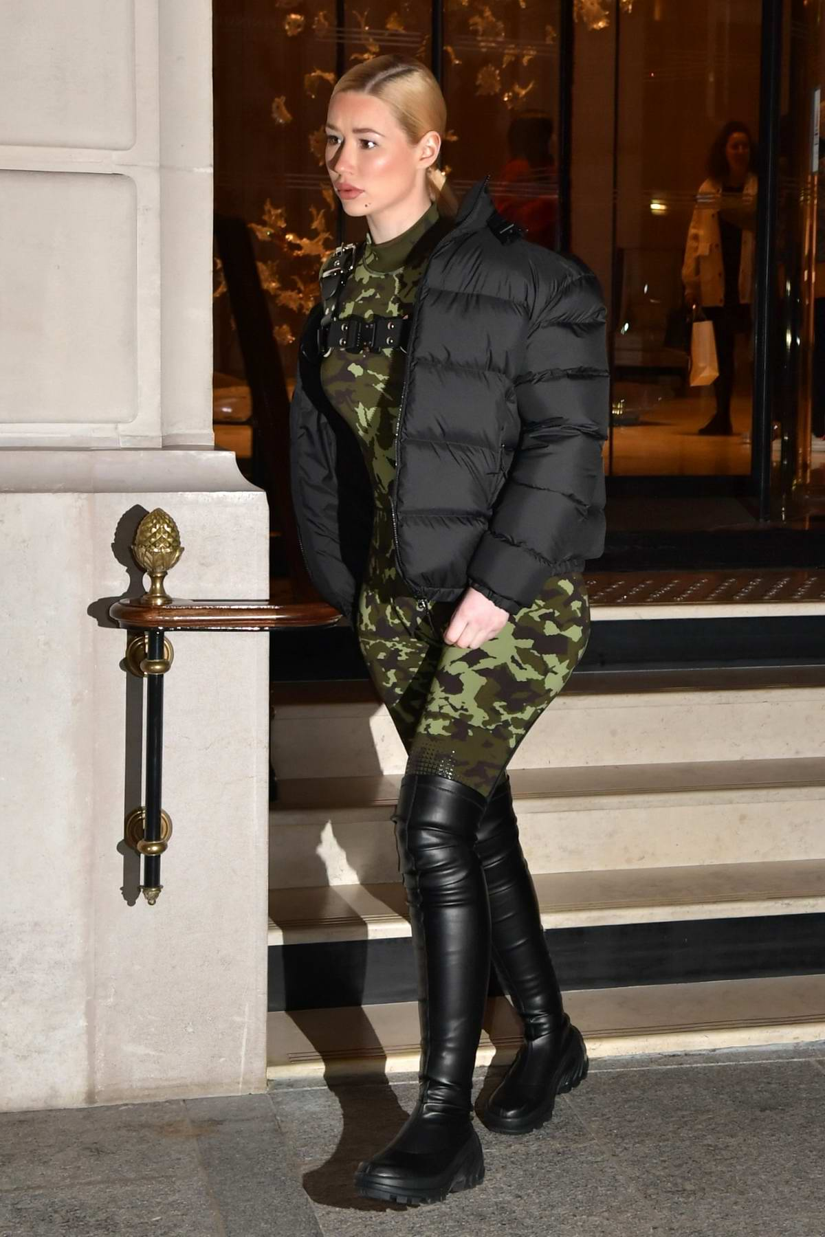 Iggy Azalea seen wearing a camo bodysuit while out with Playboi Carti in Paris, France