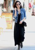 Jenna Dewan wore a black dress and denim jacket while out for lunch at Joan's on Third in Studio City, Los Angeles