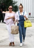 Jennifer Lopez meets up with a friend for lunch and shopping in South Beach in Miami, Florida