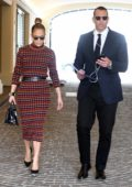 Jennifer Lopez wore a plaid dress while heading for a meeting with Alex Rodriguez in Miami, Florida
