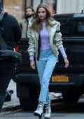 Josephine Skriver seen during a Maybelline photoshoot on the streets of New York City