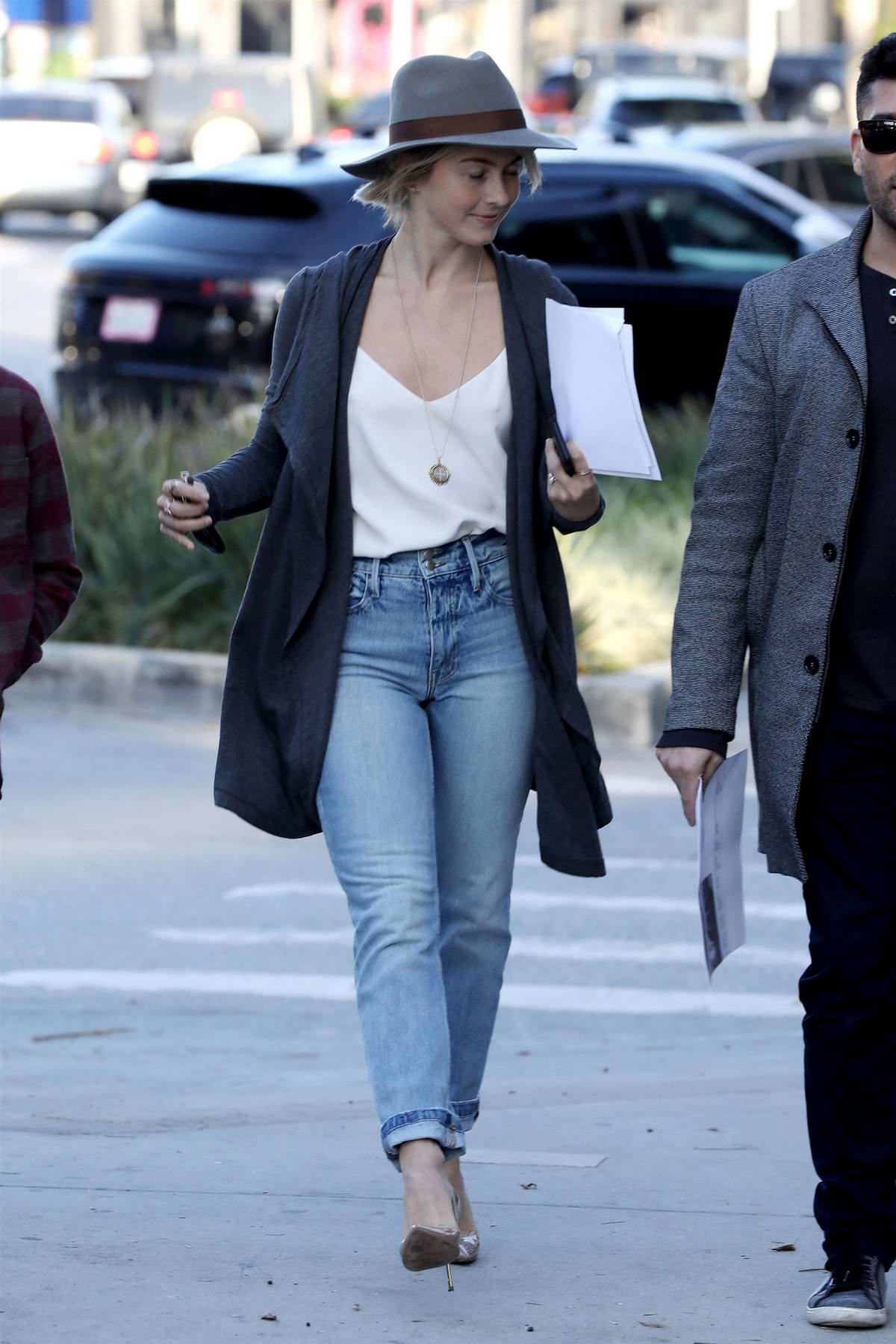 Julianne Hough steps out in white top and jeans with a grey fedora ...