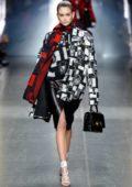 Kaia Gerber walks the runway at Versace show, Fall/Winter 2019 during Milan Fashion Week Men's in Milan, Italy