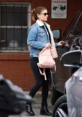 Kate Mara seen wearing a fur-lined denim jacket and black leggings as she leaves after her dance class in Beverly Hills, Los Angeles