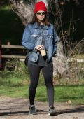 Kate Mara spotted in a denim jacket, black leggings and a red beanie while out for a hike in Los Angeles
