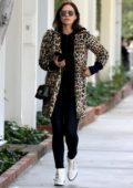 Katharine McPhee wears a leopard print coat as she heads to Kate Sommerville Clinic in West Hollywood, Los Angeles