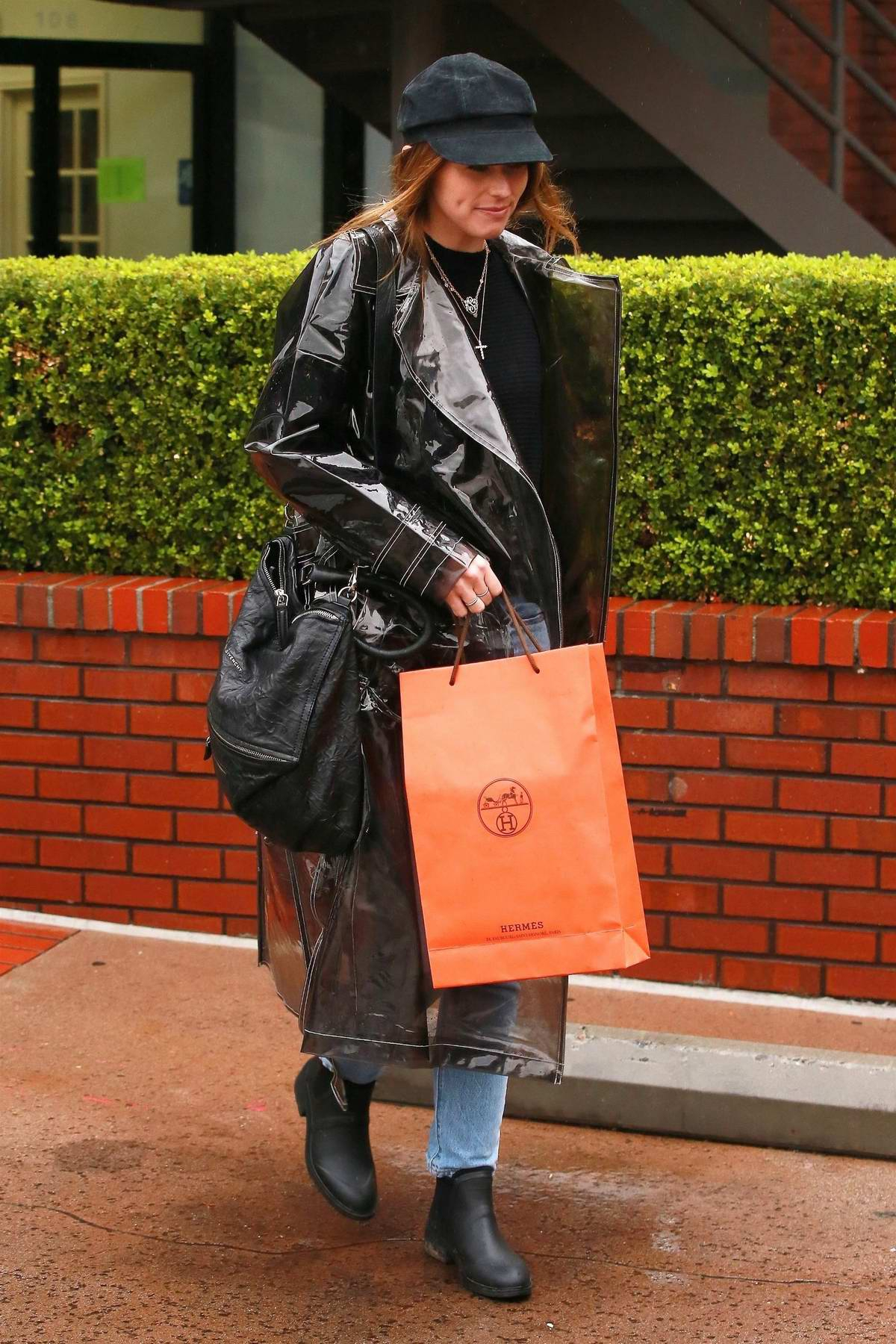 Katherine Schwarzenegger seen after her engagement to Chris Pratt as she steps out on a rainy day in Brentwood, Los Angeles