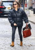 Keri Russell wore a black puffer jacket while out Shopping for beauty supplies at Space NK in New York City