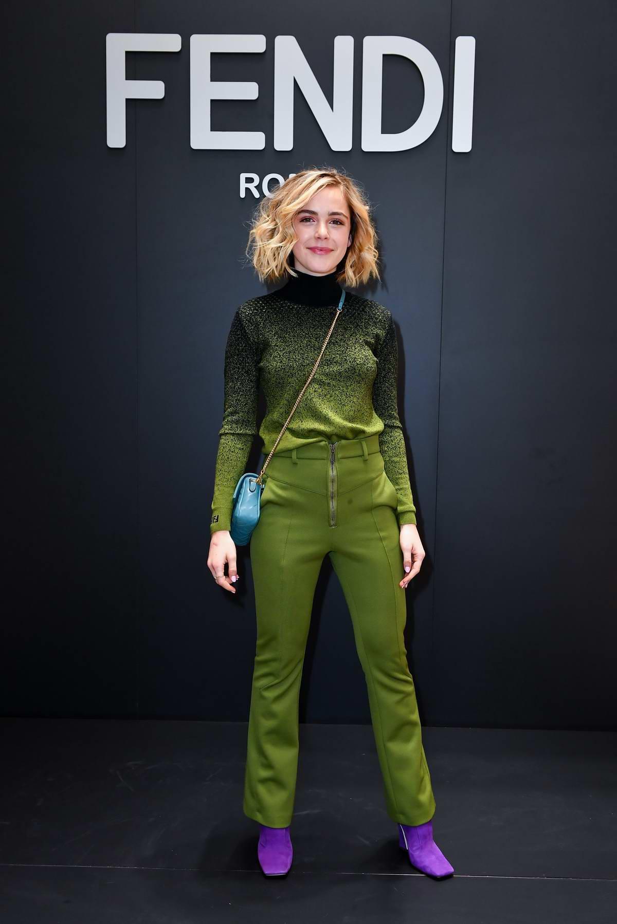 Kiernan Shipka attends Fendi Fashion Show in Milan, Italy