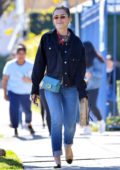 Kiernan Shipka wears denim on denim as she steps out for lunch in Los Angeles
