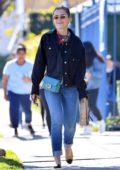Kiernan Shipka wears denim on denim as she steps out for lunch in Los Angeles
