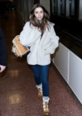 Lily Collins greets fans at Salt Lake City Airport ahead of the 2019 Sundance Film Festival, Utah