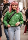 Maisie Williams shows off her pink hair at the Heron Preston Show during Paris Fashion Week in Paris, France