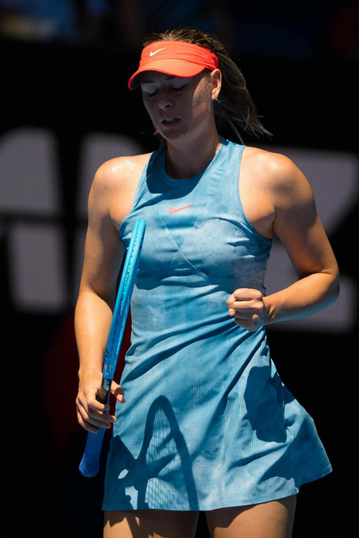 Maria Sharapova in action during the 2019 Australian Open in Melbourne, Australia