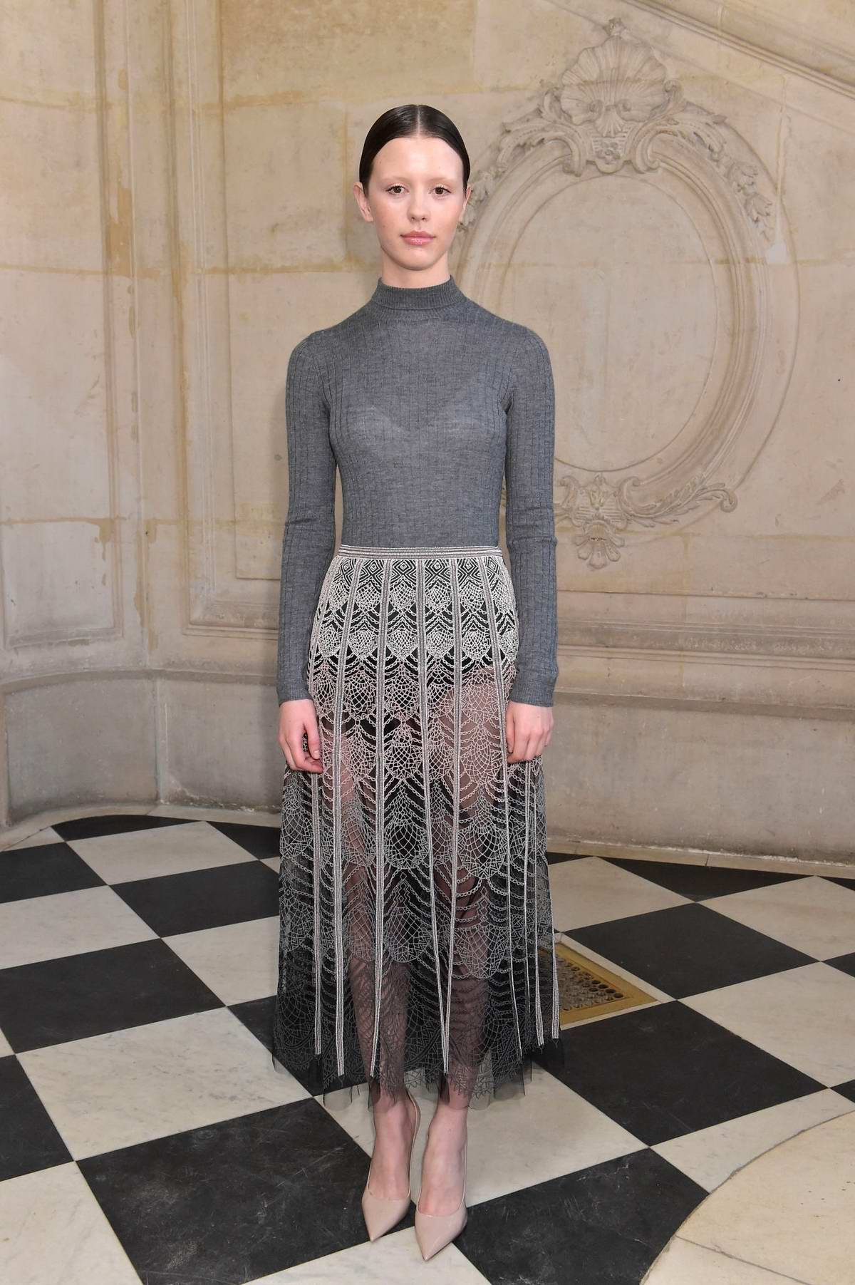 Mia Goth attends the Christian Dior Haute Couture Spring/Summer 2019 Show during Paris Fashion Week in Paris, France