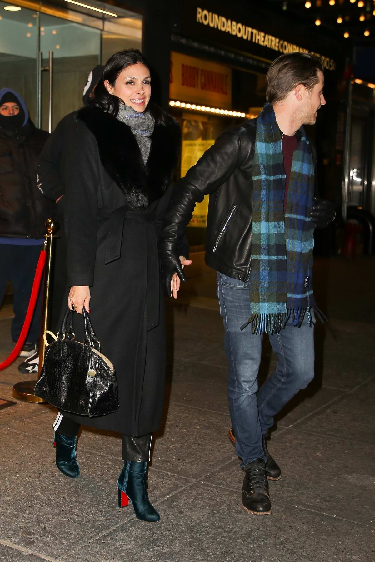 Morena Baccarin And Ben McKenzie seen leaving a private screening at Feinstein's/54 Below in New York City