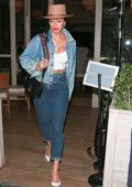 Nicole Scherzinger rocks double denim while out to dinner at Avra in Los Angeles