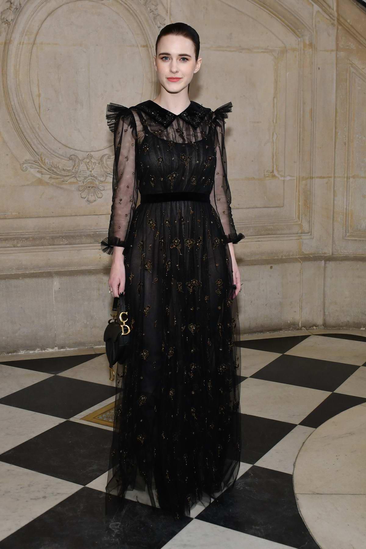 Rachel Brosnahan attends Christian Dior Haute Couture Spring/Summer 2019 Show during Paris Fashion Week in Paris, France