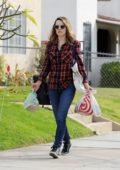 Rachel McAdams wears a red checkered shirt and jeans while out for some grocery shopping in Los Angeles
