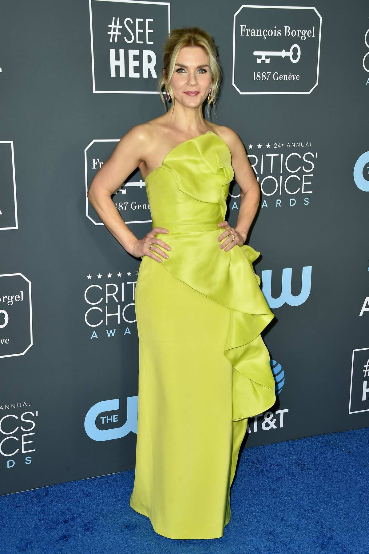 Rhea Seehorn attends the 24th Annual Critics' Choice Awards at Barker Hangar in Santa Monica, California