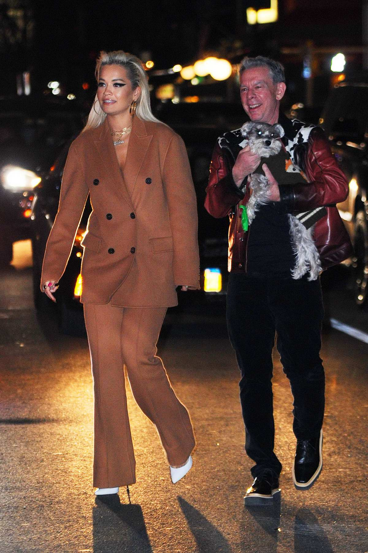 Rita Ora spotted in a brown suit while out for dinner with Elvis Duran in New York City