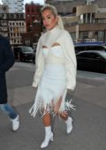 Rita Ora wears an all white ensemble while out in Soho, New York City
