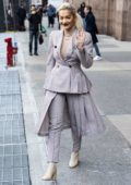 Rita Ora wore a Fendi suit as she leaves Z100 Radio Studios in New York City