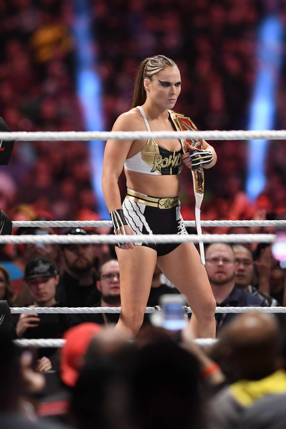Ronda Rousey in the ring during her match against Sasha Banks at WWE's 2019 Royal Rumble in Phoenix, Arizona