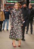 Sarah Paulson wore a floral print trench coat while visiting 'Good Morning America' in New York City