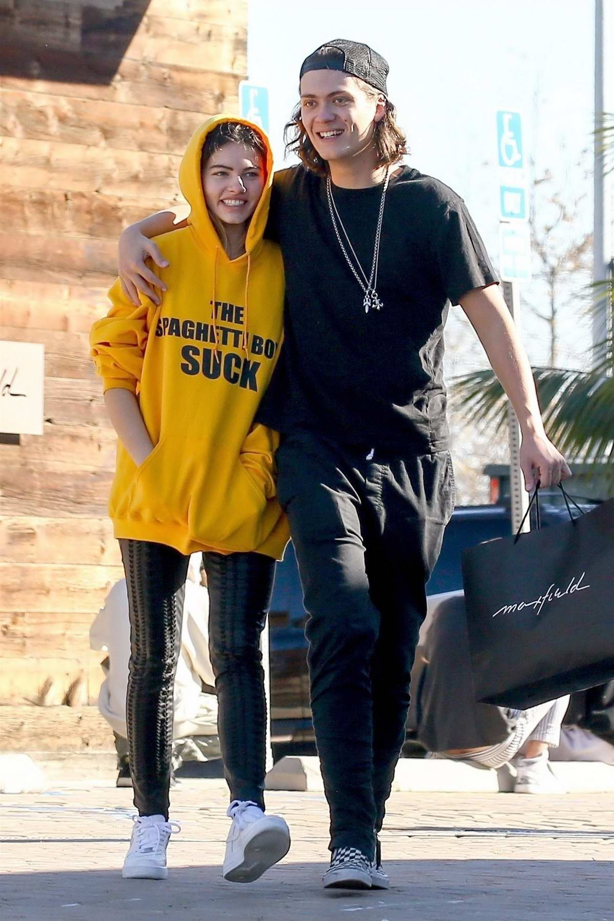 Thylane Blondeau and Milane Meritte enjoy a day at the mall with friends in Malibu, California