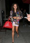 Tinashe sports a makeup free look with a colorful short dress while out for dinner at Craig's in West Hollywood, Los Angeles