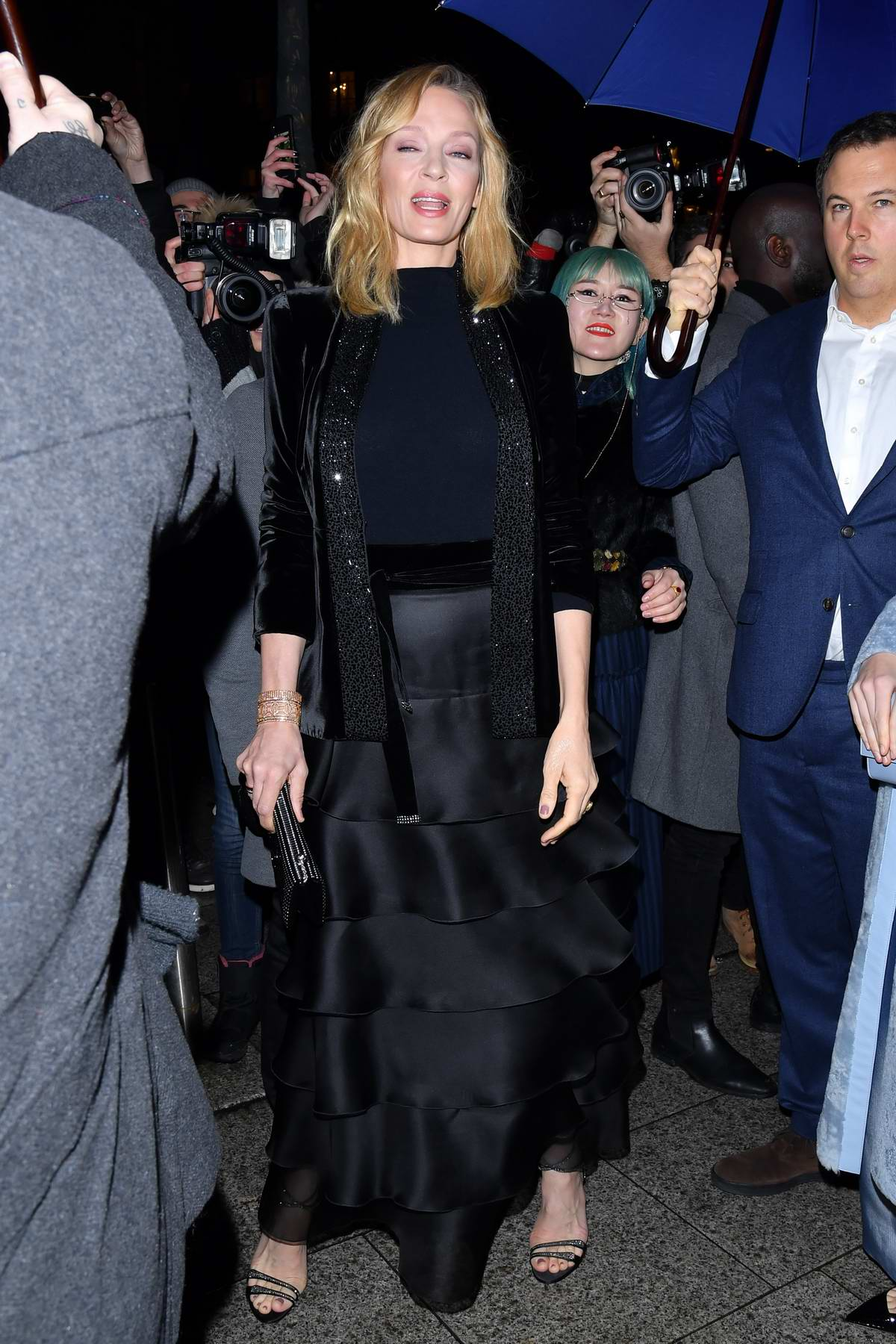 Uma Thurman attends the Giorgio Armani Privé Haute Couture Spring/Summer 2019 Show during Paris Fashion Week in Paris, France