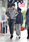Vanessa Hudgens and Austin Butler steps out for breakfast on a rainy day in Los Angeles