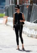 Adriana Lima seen for the first time since her breakup with Metin Hara as she left a gym in Miami, Florida