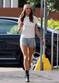 Alessandra Ambrosio shows off her legs in denim briefs during an Elle Italy photoshoot in Little Havana, Miami, Florida