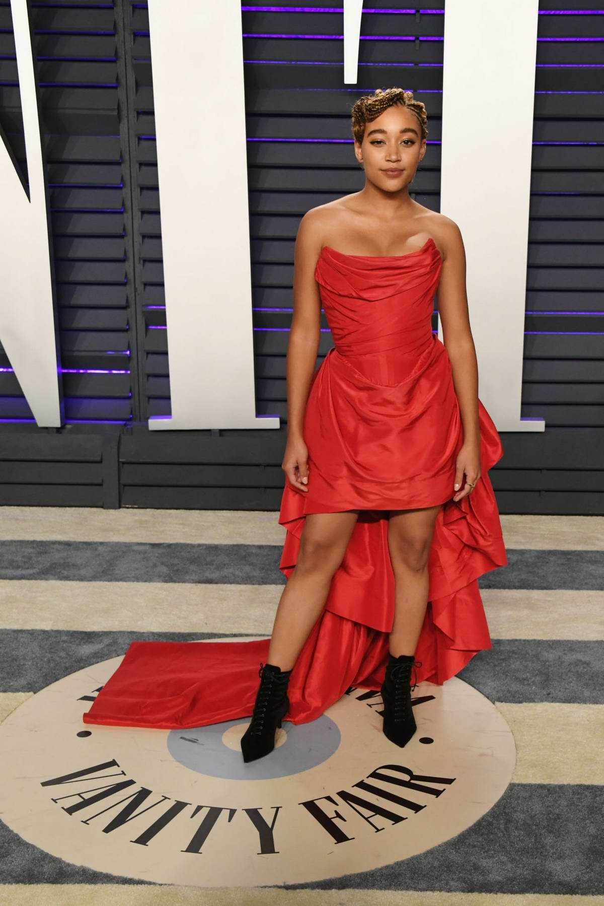 Amandla Stenberg attends the Vanity Fair Oscar Party at Wallis Annenberg Center for the Performing Arts in Beverly Hills, California