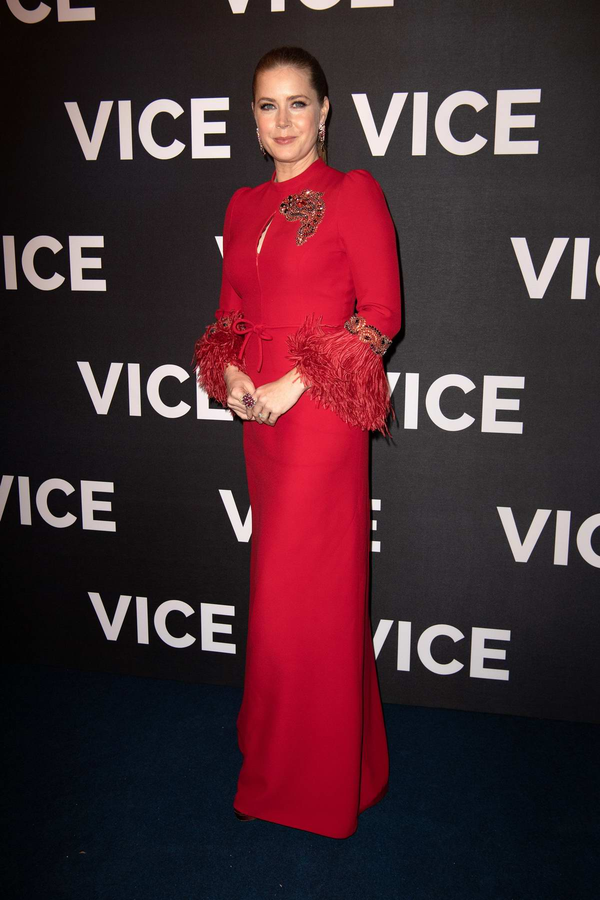 Amy Adams attends the Premiere of 'Vice' in Paris, France