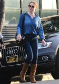 Amy Adams sports double denim with brown knee high boots while out for dress fitting in Beverly Hills, Los Angeles