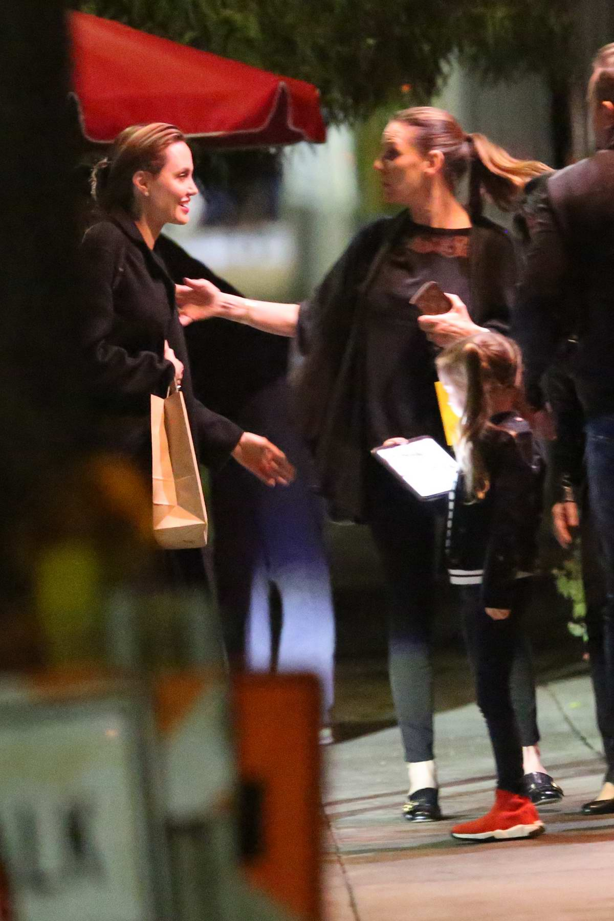 Angelina Jolie seen leaving after dinner with friends at Rao's in Los Angeles