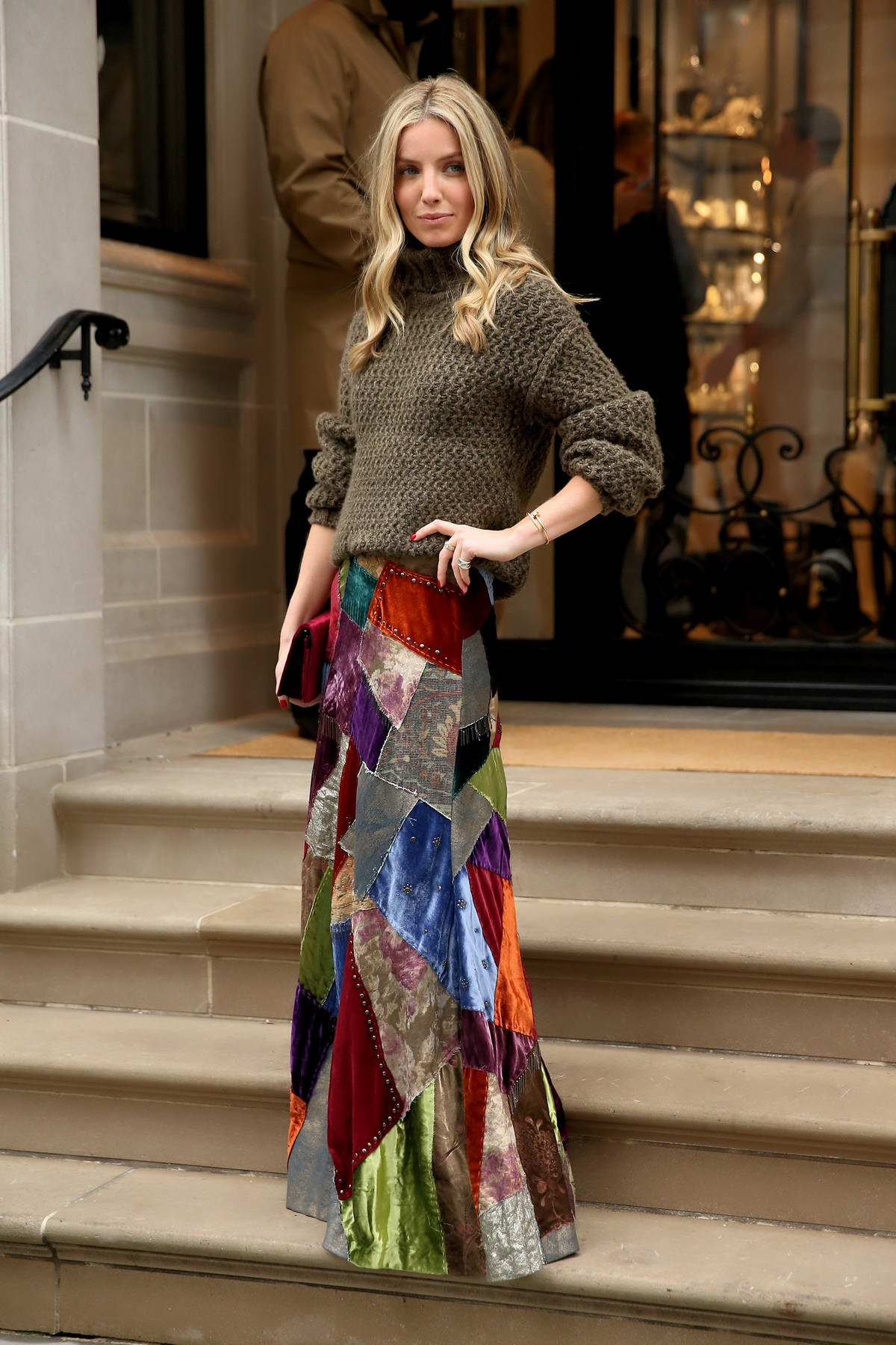 Annabelle Wallis leaves the Ralph Lauren show during New York Fashion Week in New York City