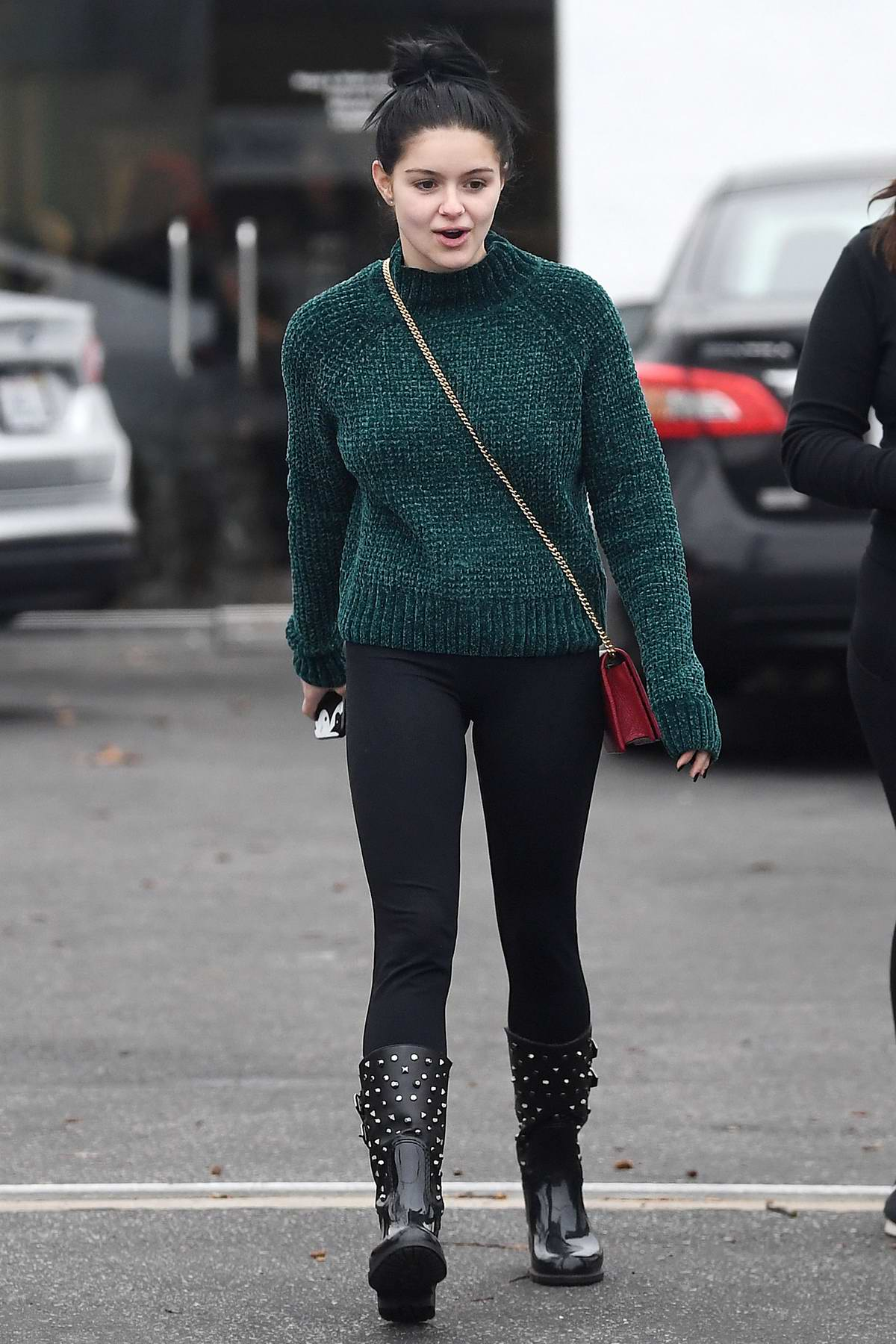 Ariel Winter wore a green sweater and black leggings while visiting Wags & Walks Dog Adoption Center in Los Angeles