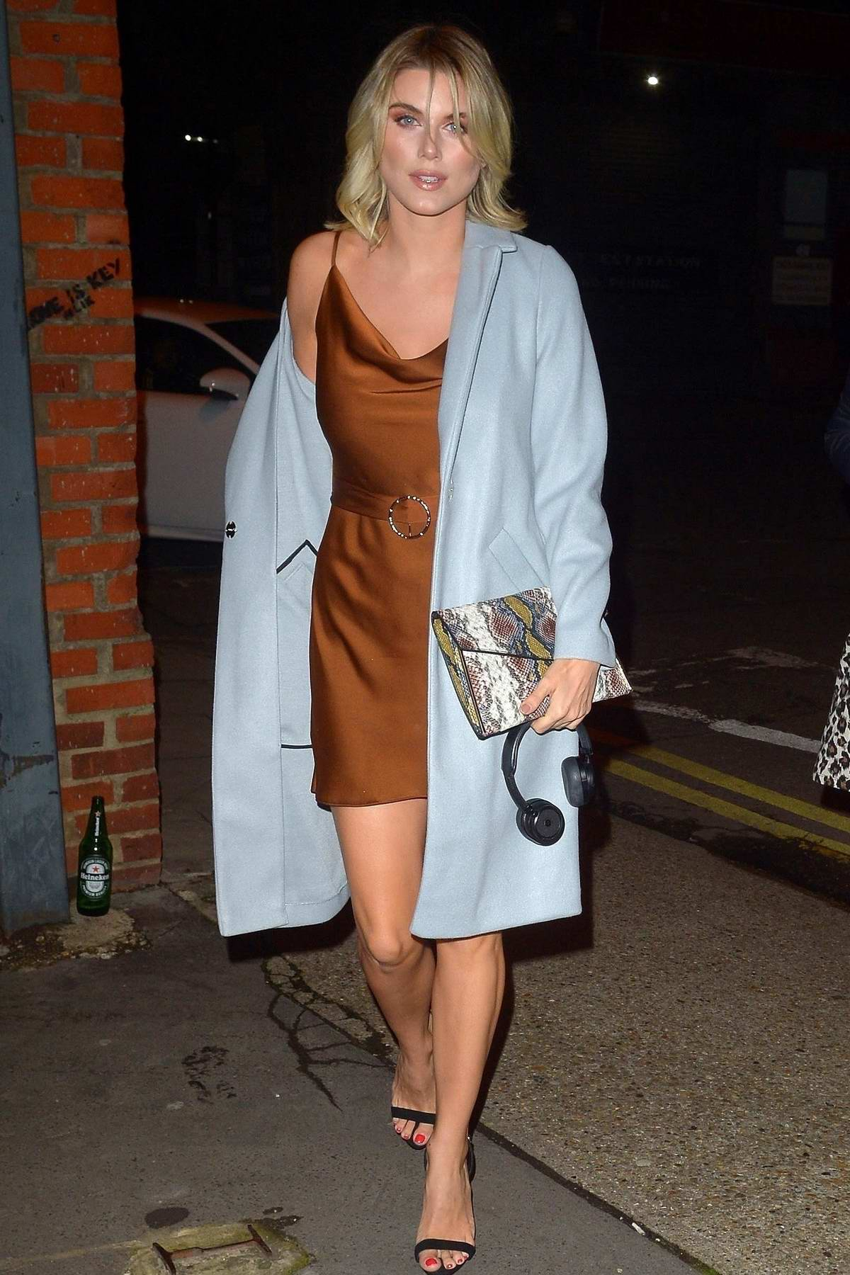 Ashley James arrives at the Wringer and Mangle in Hackney in London, UK