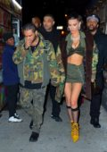Bella Hadid and The Weeknd steps out in matching camo outfits while heading to The Weeknd's birthday party at Tao in New York City